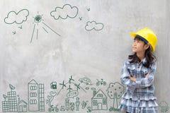 Инженерство маленькой девочки с творческой окружающей средой чертежа Стоковое Изображение