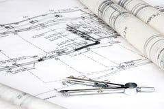 инженерство чертежа конструкции Стоковое Фото