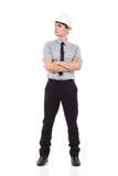 Инженер в белом защитном шлеме Стоковые Изображения