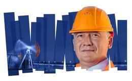 Инженер в месторождении нефти Состав коллажа Стоковое Изображение