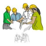 Инженер по строительству и монтажу 4 работая в векторе i строительной площадки Стоковое Фото