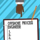 Инженер-технолог текста сочинительства слова оффшорный Концепция дела для ответственного за процессы Hu исследования нефти и газ иллюстрация штока
