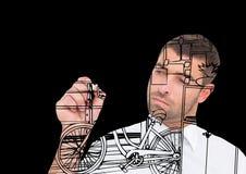 линии офиса чертежа человека на экране Стоковые Изображения RF