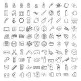 100 линий значки вектора тонких установила для infographics и набора UX UI Содержит парикмахерскую, технологию & компьютеры, экол иллюстрация вектора