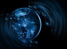 линия горизонта земли 3d представила космос серия интернета руки самого лучшего глобуса принципиальных схем принципиальной схемы  Стоковые Изображения RF