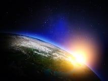 линия горизонта земли 3d представила космос Стоковая Фотография RF