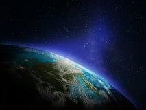 линия горизонта земли 3d представила космос Стоковые Изображения