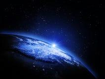 линия горизонта земли 3d представила космос Стоковое Изображение