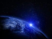 линия горизонта земли 3d представила космос стоковые фото