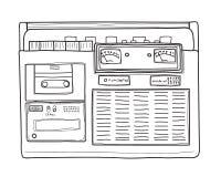линия нарисованная рукой иллюстрация радио boombox винтажной искусства Стоковые Изображения RF