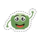линия отрезка диеты питания зеленого перца шаржа иллюстрация вектора