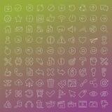 линия установленные значки 100 векторов Стоковая Фотография RF