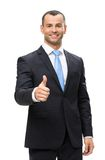 длинной с Полу портрет бизнесмена thumbing вверх Стоковое Изображение RF