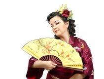 длинной с Полу портрет женщины кимоно цветков с волосами стоковые изображения