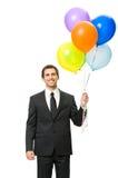 длинной с Полу портрет менеджера с воздушными шарами Стоковое Изображение RF