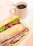 2 длинных сандвича багета Стоковое Фото