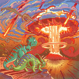 2 динозавра наблюдают апокалипсис Стоковое Фото
