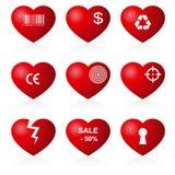 иносказательный комплект иконы сердец иллюстрация штока