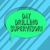 Инспектор дня показа знака текста сверля Схематическое фото на попечении операторов сверла на овале пробела карьера иллюстрация штока