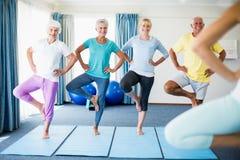 Инструктор выполняя йогу с старшиями Стоковые Изображения RF