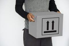 Инструкция коробки эта сторона вверх по предосторежению информации стоковые фотографии rf