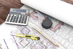 Инструменты архитектора в чертежах Стоковые Изображения RF