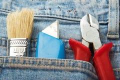 инструменты джинсыов карманные Стоковое Изображение RF