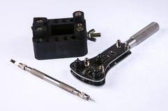 Инструменты для вахты ремонта, часов сделанных от нержавеющей стали Стоковые Фото