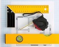 инструменты дома чертежа конструкции Стоковая Фотография RF