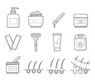 Инструменты значков для удаления волос бесплатная иллюстрация