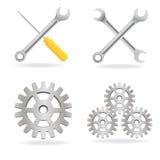 инструменты иконы установленные Стоковое Изображение RF