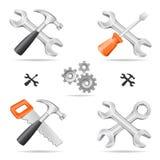 инструменты иконы установленные Стоковые Изображения RF