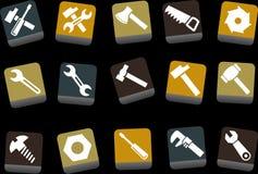 инструменты иконы установленные иллюстрация вектора