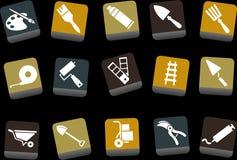 инструменты иконы установленные иллюстрация штока