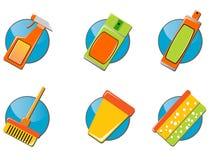 инструменты иконы чистки установленные Стоковое Изображение