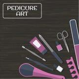 Инструменты и аксессуары для маникюра и pedicure на деревянной предпосылке Стоковая Фотография RF