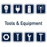 Инструменты и комплект значка оборудования Стоковые Изображения