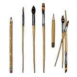 Инструменты и материалы художника для рисовать Щетки и карандаши Люди ремесла творческие Оборудование в стиле Doodle иллюстрация вектора