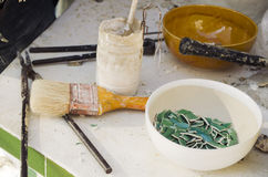 инструменты и материалы Консерваци-восстановления Стоковые Изображения