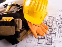 Инструменты и планы contruction Стоковые Изображения RF
