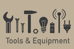 Инструменты и элементы оборудования Стоковые Изображения RF
