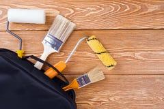 Инструменты картины в сумке Стоковые Изображения