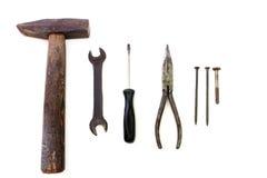 Инструменты конструкции на белизне стоковые изображения