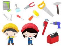 Инструменты конструкции - установленные дети иллюстрация штока