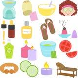 Инструменты красотки, иконы спы Стоковые Изображения