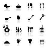инструменты кухни иконы установленные Стоковая Фотография RF