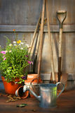 инструменты лета сарая бака сада цветков Стоковое Фото