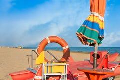Инструменты личной охраны, зонтик, lifebuoy и спасательная лодка Стоковые Фото
