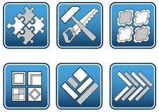 инструменты мозаики материалов Стоковые Изображения RF