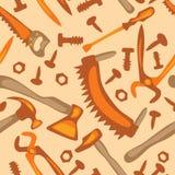 Инструменты на картине белой предпосылки безшовной Стоковое Изображение RF